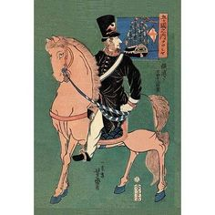 Buyenlarge Russian Officer on White Horse Painting Print