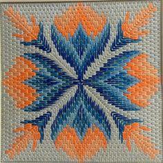 Broderie Bargello, Bargello Needlepoint, Needlepoint Stitches, Needlepoint Canvases, Needlework, Kasuti Embroidery, Swedish Embroidery, Embroidery Hoop Art, Cross Stitch Embroidery
