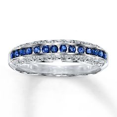 Natural Sapphire Ring  Diamond Accents 10K White Gold