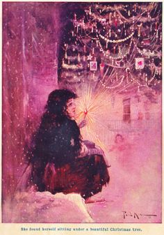 "Haunting vintage illustration from the Hans Christian Andersen story ""The Little Match-Seller."""