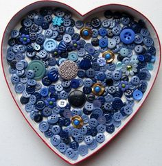 buttons, blue buttons, assorted buttons, sewing buttons, buttons for crafts Diy Buttons, Vintage Buttons, Button Art, Button Crafts, My Favorite Color, My Favorite Things, Love Blue, Sewing A Button, Heart Art