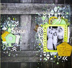 Scrapbooking by Nastya M: Страничка из прошлого) / LO Time Flies #scrapbooking #LO #mixedmedia