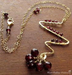 The Hammered Gold Lightning Chain Necklace With Woven Garnet and Cluster