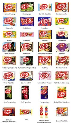 Japanese Kit Kat flavors - I'll take one of each maybe triple lol. Oh my god kit kat is my freaking favorite candy bar ever!!!!!!!!!!!! Lulz! Someone buy me these please! !!