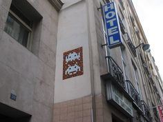 Space-Invader and other video-game-inspired street art tile mosaics all around Paris. Part 4.