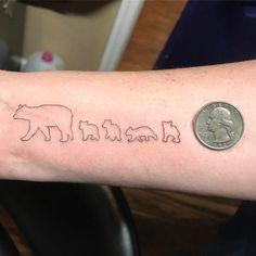 Small Bear Family Tattoo by Pixie Baby Bear Tattoo, Tattoo Mama, Teddy Bear Tattoos, Polar Bear Tattoo, Cubs Tattoo, Baby Tattoos, Family Tattoos, Wrist Tattoos, Ship Tattoos