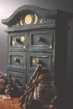 Your place to buy and sell all things handmade - Handpainted Celestial Apotheca. - Your place to buy and sell all things handmade – Handpainted Celestial Apothecary Box Curio Box - Painted Curio Cabinets, Painted Furniture, Diy Furniture, Jewelry Box Makeover, Witch Room, Witch Decor, Witch House, Aesthetic Rooms, Witch Aesthetic