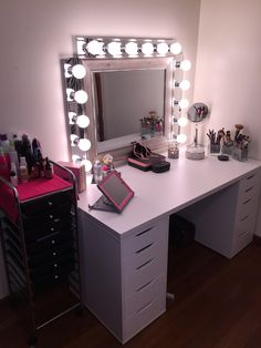 My IKEA Alex vanity. Love how it turned out and so thankful for my supportive husband that put it all together for me and wired the lights.