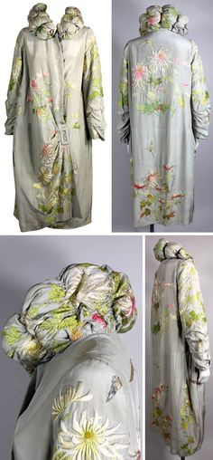 Opera coat, circa 1920s: Dove gray silk with Japanese-style hand embroidery. Padded and tufted stand-up collar, asymmetrical side closure with faux buckle. Via The Way We Wore/1st Dibs.