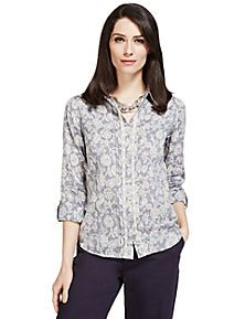 Multi Bleached Floral Printed Cotton Shirt