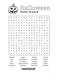 Fun & free printable Halloween word search