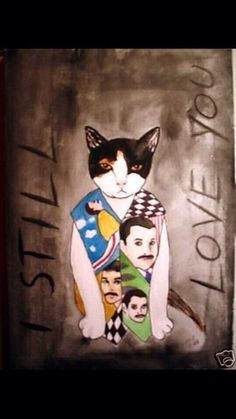 beautiful Art Some one made with Freddie Mercury N His Cat Deliah Crazy Cat Lady, Crazy Cats, All Types Of Cats, Arte Punk, Queen Photos, Queen Art, Queen Freddie Mercury, Funky Art, Cat Art