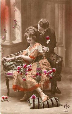 "french vintage postcards | ... Romantic Couple"" Fine vintage French postcard - Store Item# SANZ6084"