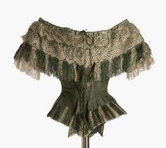 Green silk bodice, ca. 1855-65