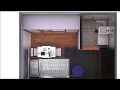 minipiso universitario 12 x Student Apartment, Apartment Layout, Small Studio Apartments, Shed To Tiny House, Studio Layout, Studio Interior, Small Places, Small House Design, House Plans