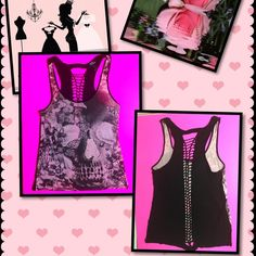 HOT TOPIC SKULL CASUAL TOP Light Pink previously loved casual top. There are three little holes at the bottom of the shirt they're are hardly noticeable when you're wearing it. Holes noted on pic # 4. The back of the top presents with a unique braided pattern.  100% RAYON TEENAGE RUNAWAY Tops Tank Tops