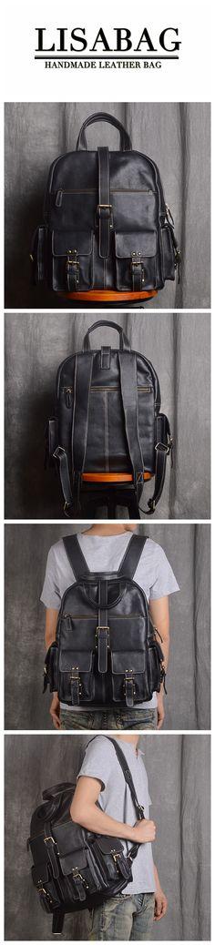 48eb56730a Handmade Top Grain Leather Backpack Large Travel Rucksack 15   Laptop  Backpack 9045 Backpack Purse. LISABAG