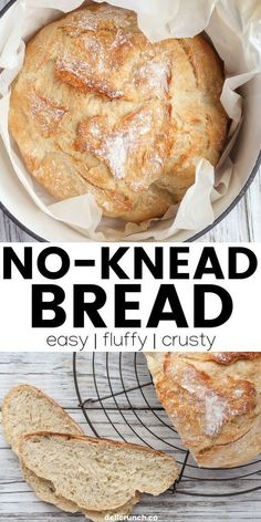Fluffy, crusty and unbelievably easy to make no-knead bread recipe baked in a dutch oven or oven-safe pot. So good that you can't stop yourself from making it frequently! Easy Desserts, Delicious Desserts, Dessert Recipes, Brunch Recipes, Knead Bread Recipe, No Knead Bread, Healthy Bread Recipes, Baking Recipes, Traditional Bread Recipe