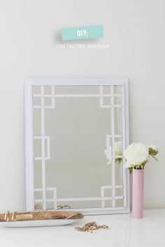 Save your money and DIY this Fretwork Mirror !  Read more - http://www.stylemepretty.com/living/2014/03/18/diy-fretwork-mirror/