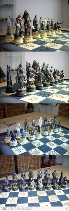 The Lord of the Rings Chess Sets. Showing two out of the three sets available at http://www.lotr-chess.co.uk/index.html.