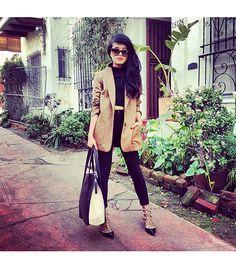 @Who What Wear - Lusttforlife is wearing: Celine sunglasses, ASOS shirt, Valentino heels.  Get The Look:  Club Monaco Claudia Italian Wool Blazer ($398)  See more ways to wear camel blazers on Pose.com.  love the crop top