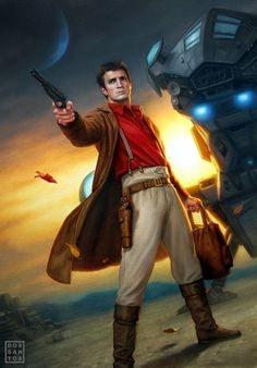 Nathan Fillion as Captain Mal Reynolds on a Firefly comic book cover.