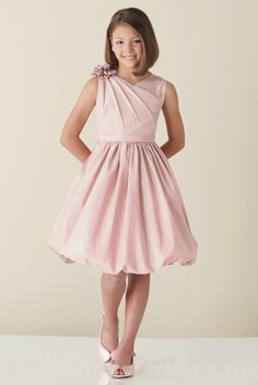 Unique Neckline Pink Flower Trimed A Line Ruched Affordable Girls Party Dress