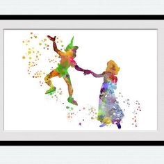 Peter Pan and Wendy colorful poster Peter Pan watercolor art print Disney art decor Home decoration Kids room decor Nursery room art W511