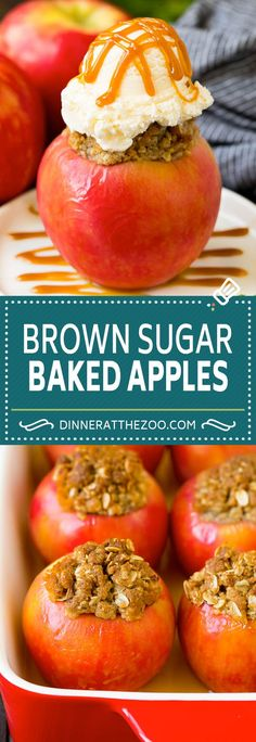 Baked Apples Recipe - Dinner at the Zoo Apple Recipes Dinner, Apple Desserts, Best Dessert Recipes, Fruit Recipes, Thanksgiving Recipes, Fun Desserts, Fall Recipes, Sweet Recipes, Delicious Desserts