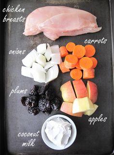 Paleo crockpot chicken with plums, carrots & apples - asquirrelinthekitchen.com