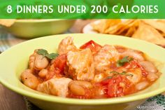 8 Dinners Under 200 Calories. #menuplanning #recipes