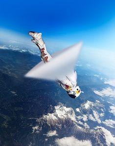 Skydiver Felix Baumgartner breaking sound barrier for Red Bull Stratos::