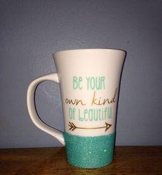 16 oz. Tall white glitter dipped coffee mug by CharmingCustomCuts