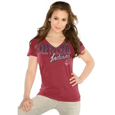 MLB Touch by Alyssa Milano Cleveland Indians Women's Start Up V-Neck Slim Fit T-Shirt