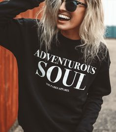 Cute Hipster Outfits : Picture DescriptionThe Parks Apparel presents our Adventurous Soul Crewneck sweater. Harness your inner spirit animal. This crewneck sweater is made for those who believe adventure stems from your very being. You live, Textiles Y Moda, Ft Tumblr, Climbing Outfits, Jen Stark, Lunette Style, Outdoor Clothing Brands, Hiking Shirts, Chuck Taylors, T Shirts For Women