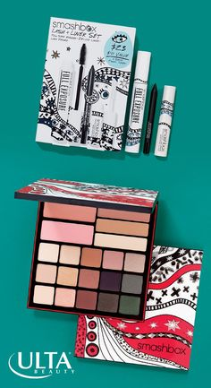 Smashbox goodies for makeup lovers who've been good all year! The limited edition packaging created by illustrator Ana Strumpf add a dash of cheer. Reach for the Drawn In. Decked Out. Shadow + Contour + Blush palette—an all-in-one of contour, highlight, blush and shadows to take from day to night. The Lash + Liner Set has everything for wondrous wide-eyed looks: Photo Finish Lash Primer, Full Exposure Mascara and Always On Gel Liner—all cult classics!