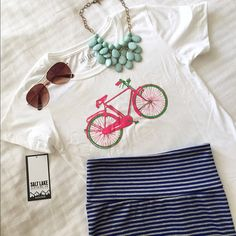 **24 HOUR SALE!!** Street Cruiser Tee Fun and pretty Street Cruiser tee. This shirt is so soft and comfy! Goes great with skirts, jeans, and shorts! The design is exclusive to Poshmark and can only be found here! Price firm unless bundled. Tops Tees - Short Sleeve