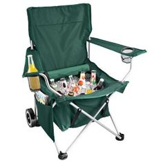 All-in-one Chair...chair and rolling tote in one, with storage under the seat. I don't know, at $60 each I'm expecting I'll be taking a beer bottle up the backside....I can only hope the ice numbs my butt first. Seriously, just put a backrest on a beer cooler (push it up against something) and I bet it's more comfortable than this thing! And it's gonna be a lot cheaper!