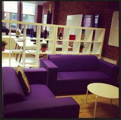 Purple sofa corner in Hiring-Hub.com.