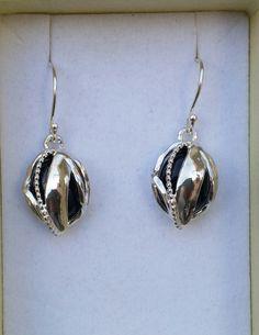 Onyx Silver Earrings, Sterling Silver 925 Dangle Earrings ,Handmade Onyx Earrings ,Women Onyx Earrings ,Unique Earrings ,Oval Shape Earrings