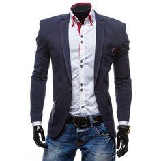 Dlhšie pánske sako tmavomodrej farby - fashionday.eu Suit Jacket, Breast, Blazer, Suits, Sport, Jackets, Fashion, Down Jackets, Outfits