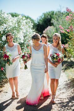 Bride with Dip dye pink wedding dress + bridemaids