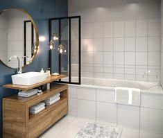 32 Unique Bathroom Accessories to add Function and Style to Your Space - The Trending House Modern Bathroom Design, Diy Bathroom Decor, Round Mirror Bathroom, Bathroom Interior, Small Bathroom, Bathroom Renovations, Rustic Bathroom, Renovations, Luxury Bathroom