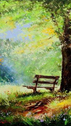 I imagine paradise. Sitting on this bench with my best friend ☺️ - Best Painting Acrylic 2019 Watercolor Landscape Paintings, Impressionist Paintings, Landscape Art, Watercolor Paintings, Art Abstrait, Pictures To Paint, Painting Inspiration, Art Drawings, Art Photography