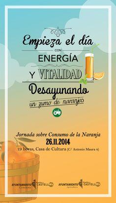 II Jornada sobre consumo de la naranja. Mañana, a las 19h en la Casa de Cultura. Boarding Pass, Home, Town Hall, Orange, Culture, Activities