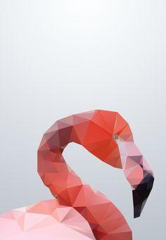Geometrical - Flamingo Art Print