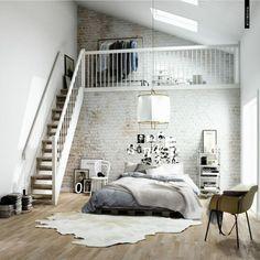 chambre a coucher avec un tapis en peau de vache, escalier en bois blanc, chambre mansardé, studio vaste