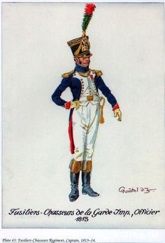 Imperial Guard, Officer of Fusiliers-Chasseurs… Military Weapons, Military Art, Military History, Army Uniform, Military Uniforms, Army Costume, Battle Of Waterloo, French Army, Napoleonic Wars