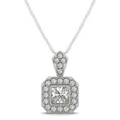 1 1/3 ct Princess Of D-F color & VS1-SI2 quality & Round Diamond Halo Necklace in 18k Gold  http://ravenjewelers.com/