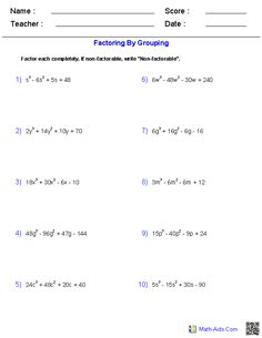 Factoring by Grouping Polynomial Functions Worksheets